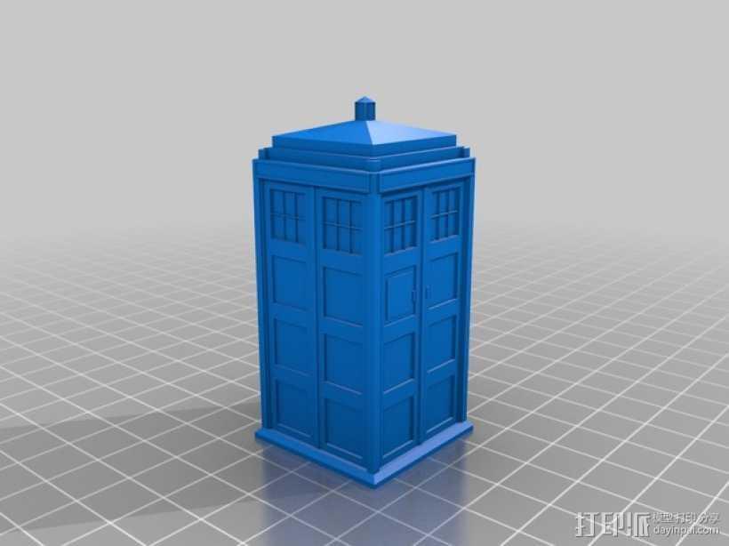 神秘博士警察亭 3D打印模型渲染图