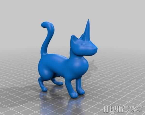 长着角的猫 3D打印模型渲染图