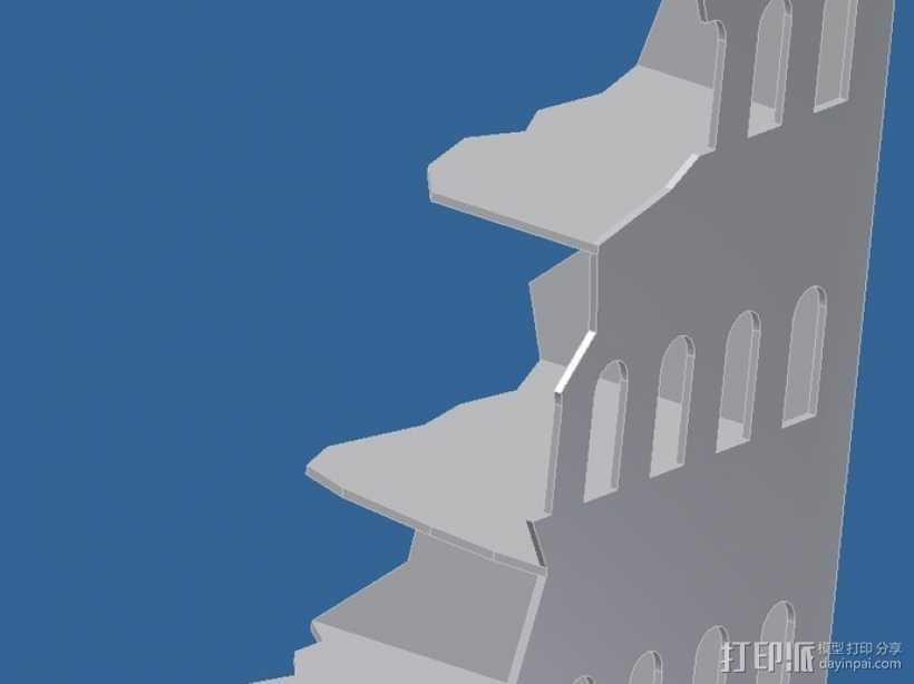 游戏废墟建筑 3D打印模型渲染图