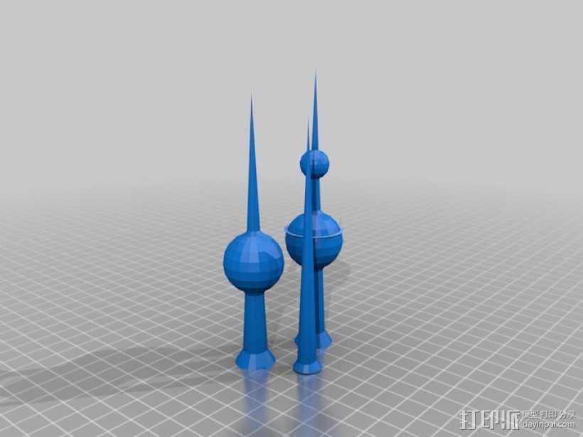 科威特塔 3D打印模型渲染图