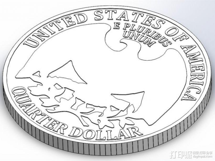 四分之一美分硬币 3D打印模型渲染图