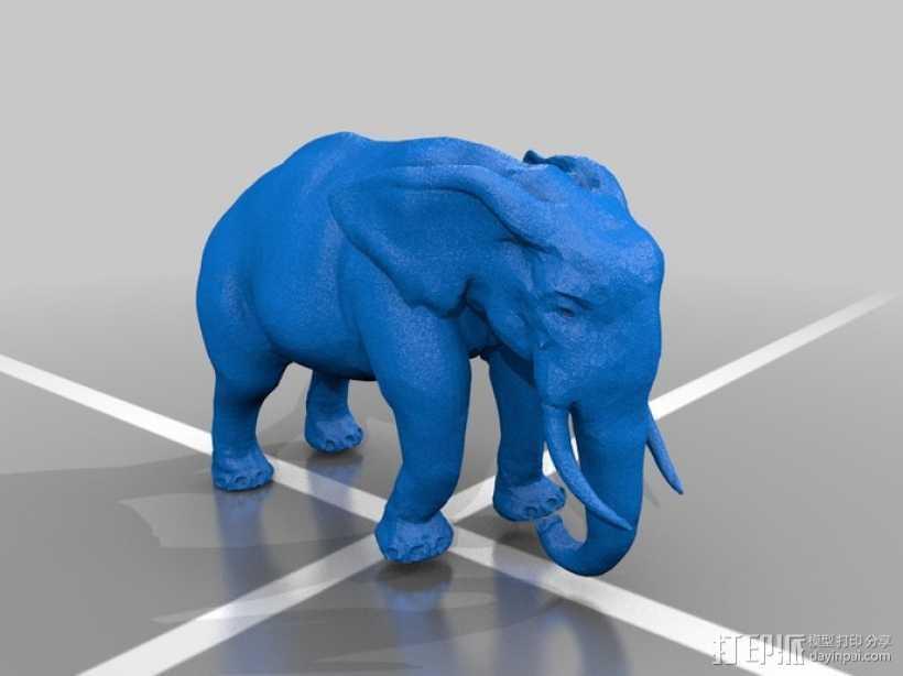 拉车的大象 3D打印模型渲染图