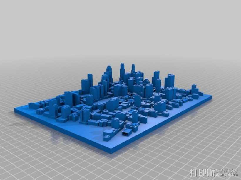 城市建筑地图 3D打印模型渲染图