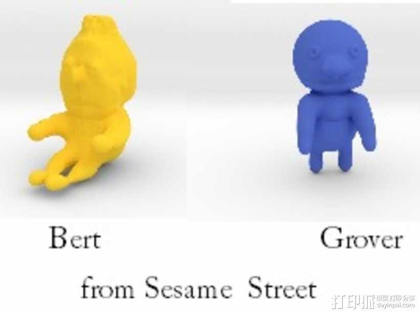 bert 和grover玩偶模型 3D打印模型渲染图