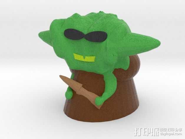 卡通尤达大师 3D打印模型渲染图