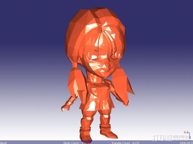 日本动漫女孩 3D打印模型渲染图