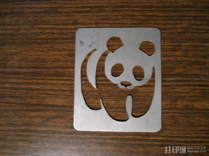 熊猫漏字板 3D打印模型渲染图