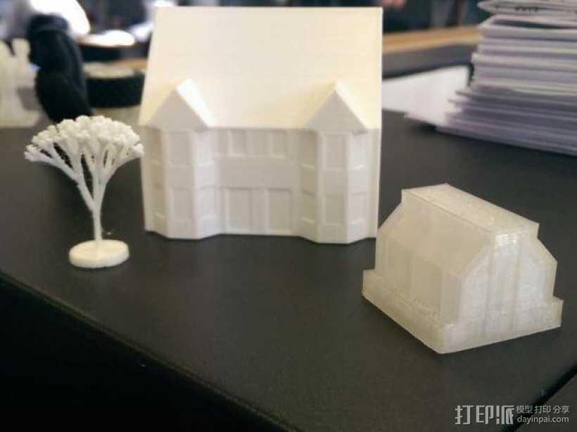 半独立房屋模型 3D打印模型渲染图