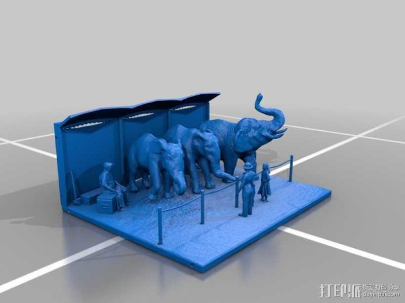 马戏团的大象 3D打印模型渲染图