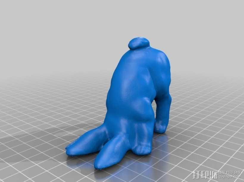 倒立的兔子 3D打印模型渲染图