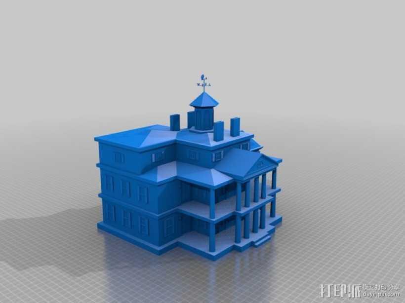 幽灵鬼屋 建筑模型 3D打印模型渲染图