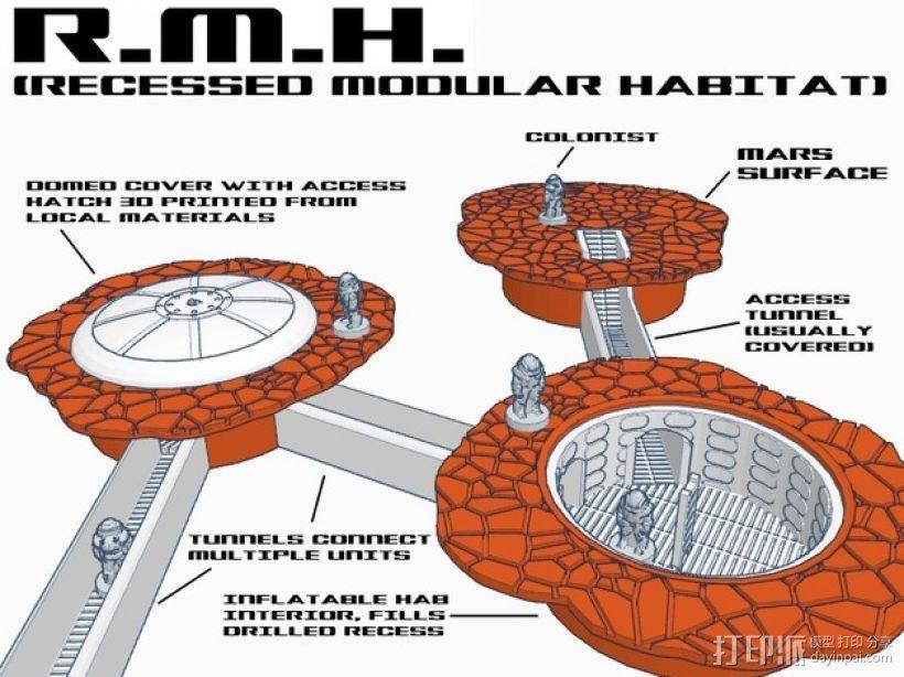 模块化火星基地 3D打印模型渲染图