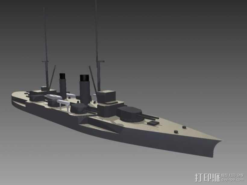 IJN Satsuma 1910战舰 3D打印模型渲染图