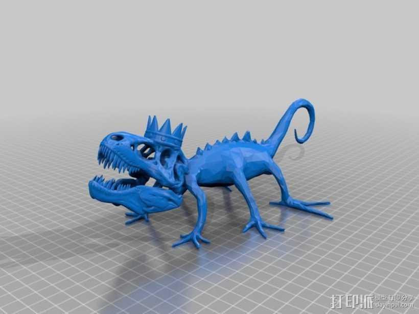戴皇冠的霸王龙 3D打印模型渲染图