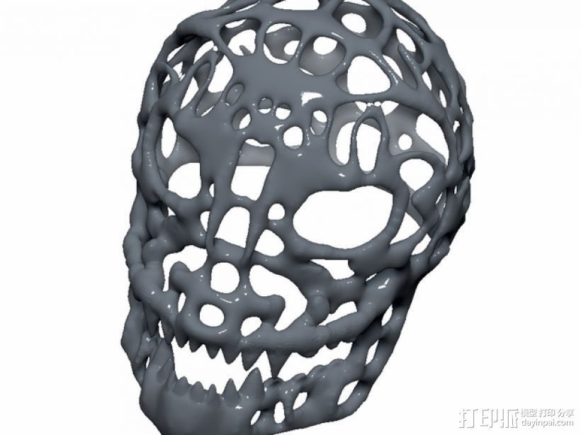 泰森多边形怪物头骨 3D打印模型渲染图