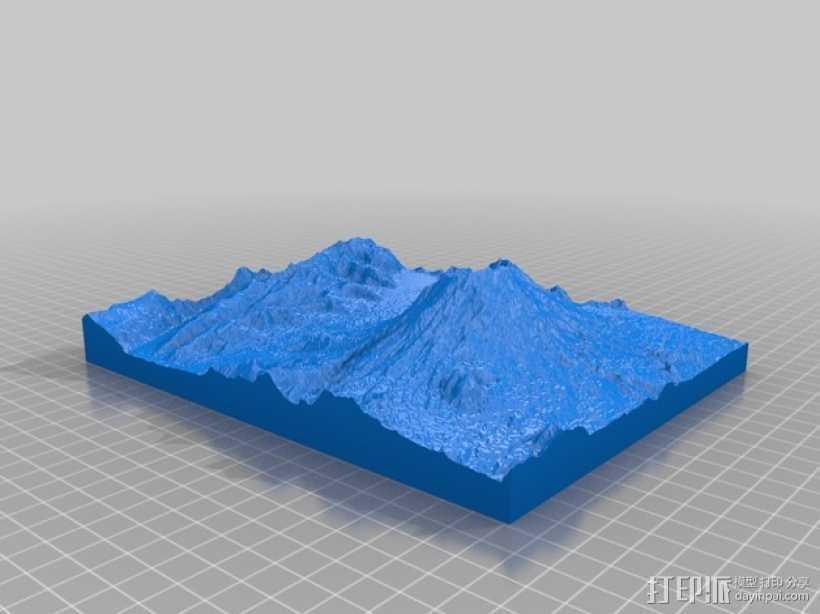 圣海伦火山地形模型 3D打印模型渲染图