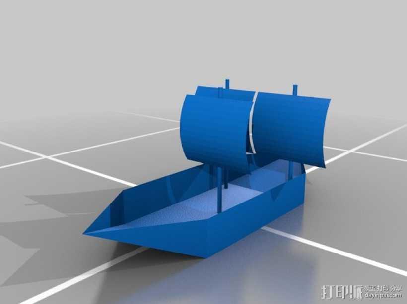 帆船 3D打印模型渲染图