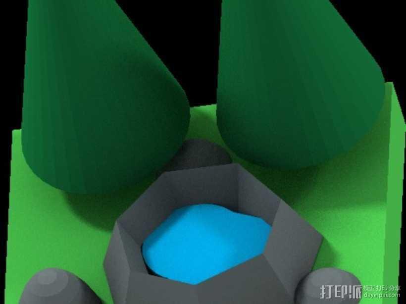 花园中的池塘 3D打印模型渲染图