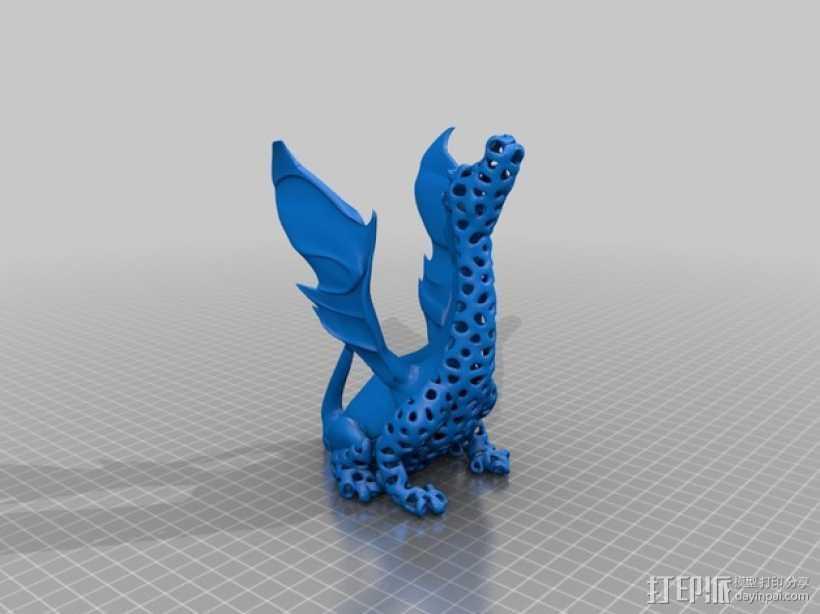 泰森多边形唱歌的火龙 3D打印模型渲染图