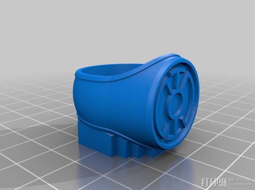 蓝灯指环 3D打印模型渲染图