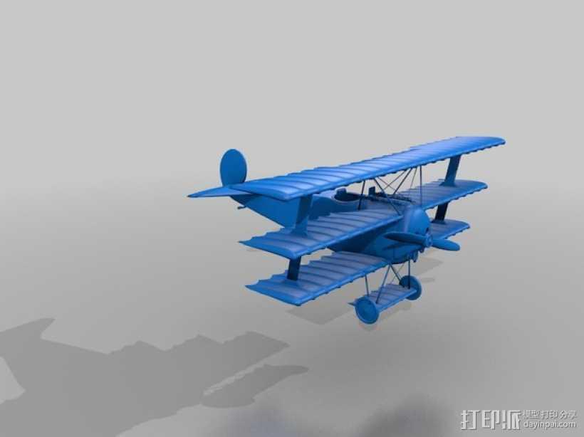 Fokker Dr.I福克单座三翼战斗机 3D打印模型渲染图