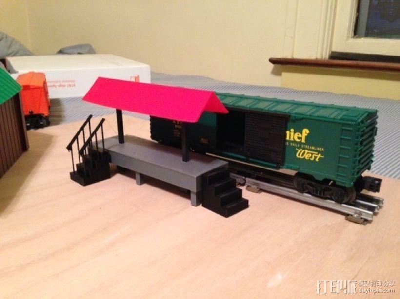 火车轨道 车站月台 3D打印模型渲染图