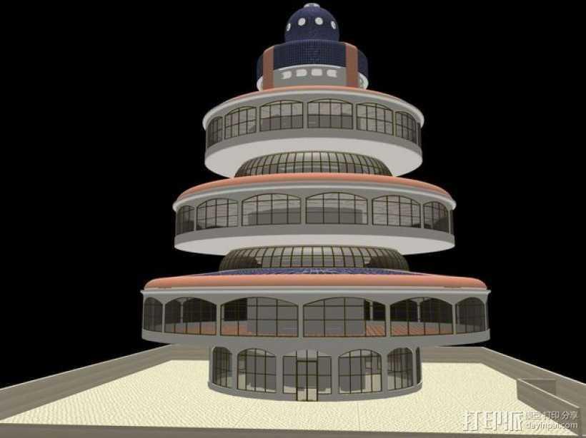 概念式圆顶建筑 3D打印模型渲染图