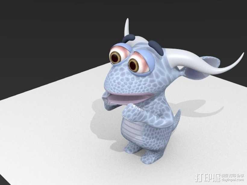 小怪物玩偶 3D打印模型渲染图
