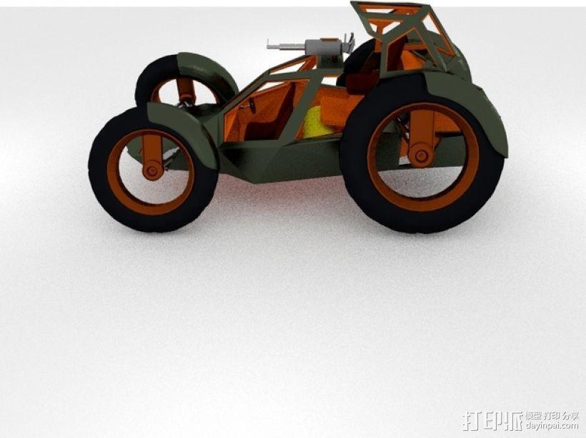 攻击性载具 双轮车 3D打印模型渲染图