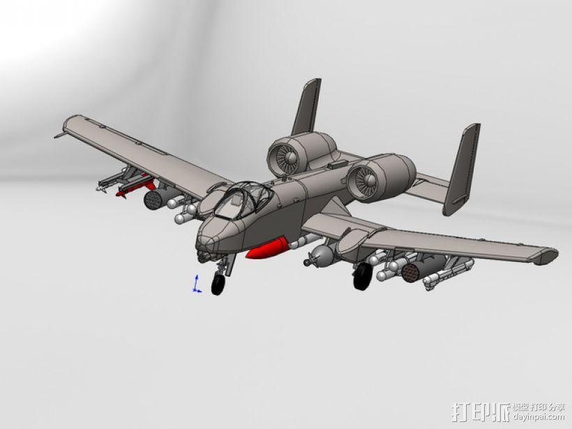"""费尔柴尔德A-10""""雷电Ⅱ式""""攻击机 3D打印模型渲染图"""