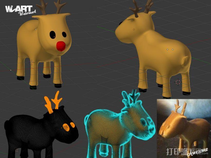 卡通驯鹿 3D打印模型渲染图
