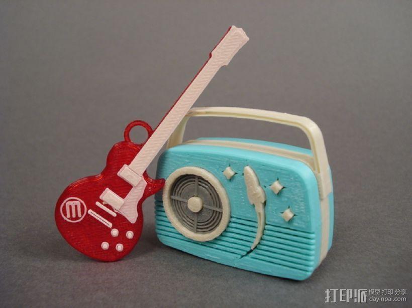 迷你吉他 3D打印模型渲染图