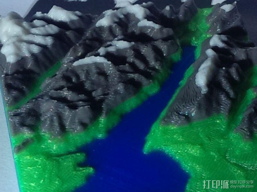 意大利加尔达湖3D地图 3D打印模型渲染图