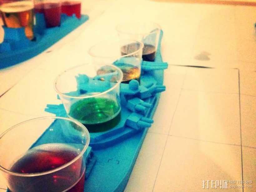 战舰酒杯托 3D打印模型渲染图