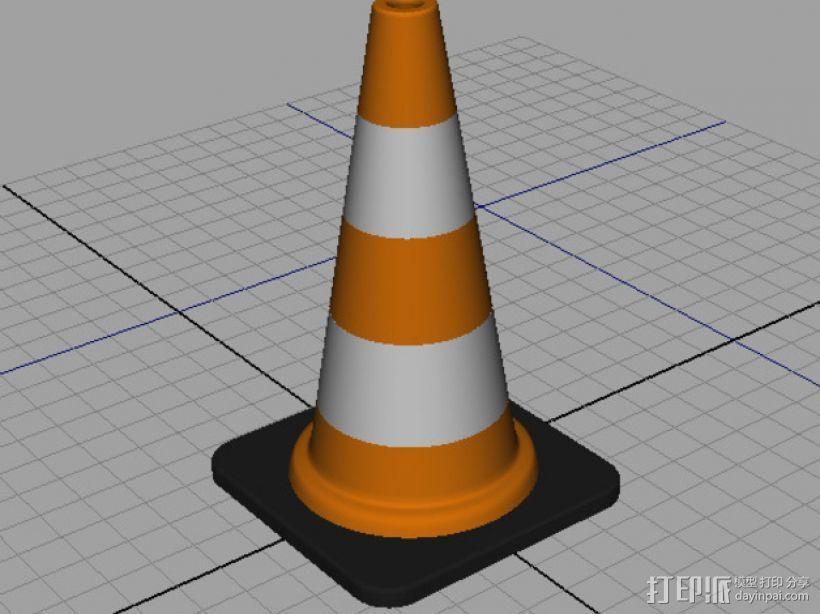 锥形交通路标 3D打印模型渲染图
