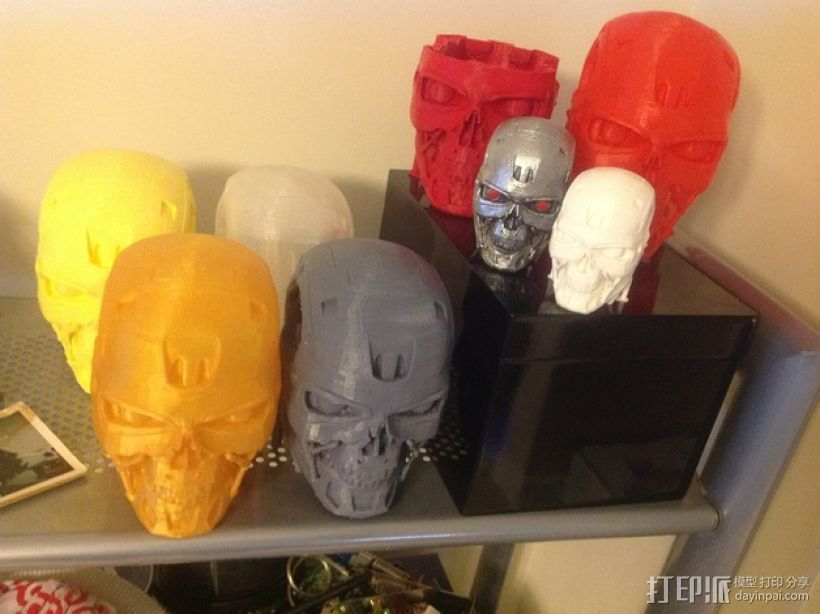机械骷髅头 3D打印模型渲染图