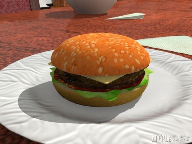 汉堡包 3D打印模型渲染图