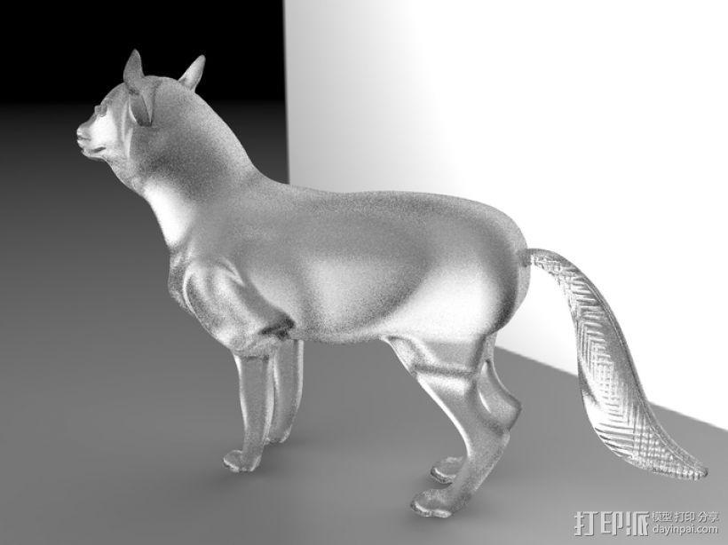 狼 3D打印模型渲染图