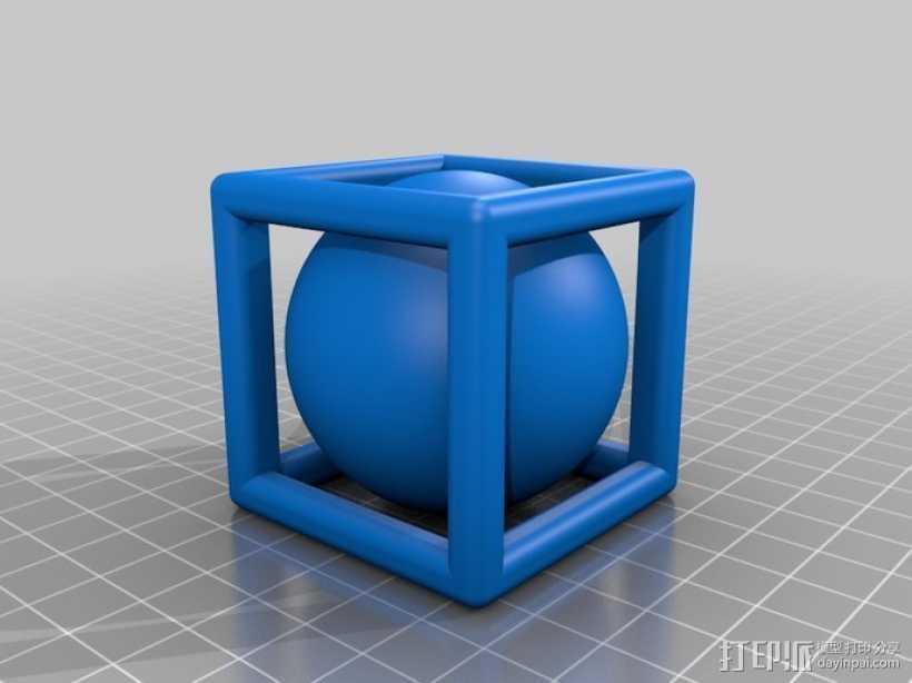 线性正方体 小球 3D打印模型渲染图