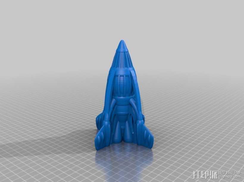 复古火箭 3D打印模型渲染图