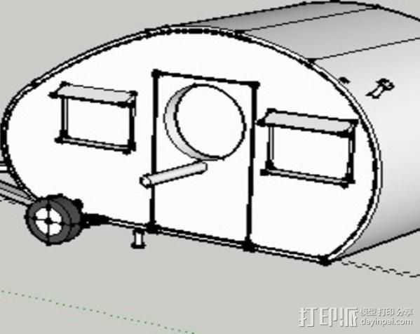 大篷车鸟屋 3D打印模型渲染图