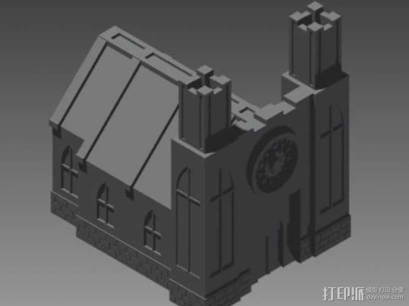 教堂 建筑模型 3D打印模型渲染图