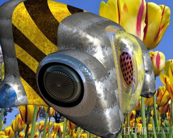 蜜蜂机器人 3D打印模型渲染图