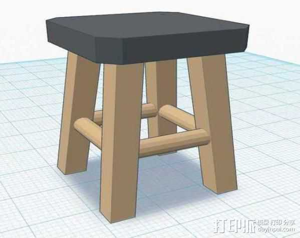 高脚凳 3D打印模型渲染图