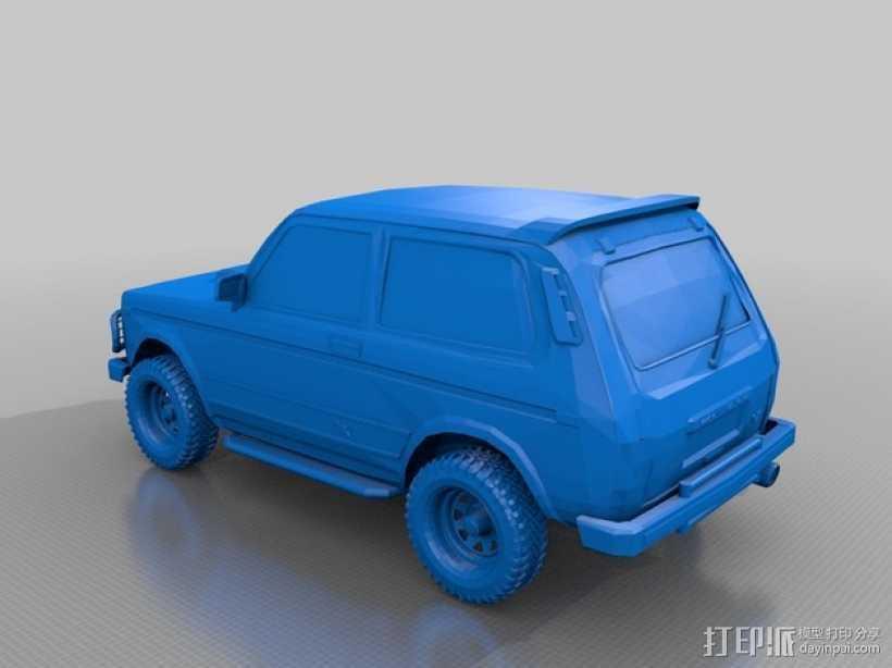 Niva小型吉普车 3D打印模型渲染图