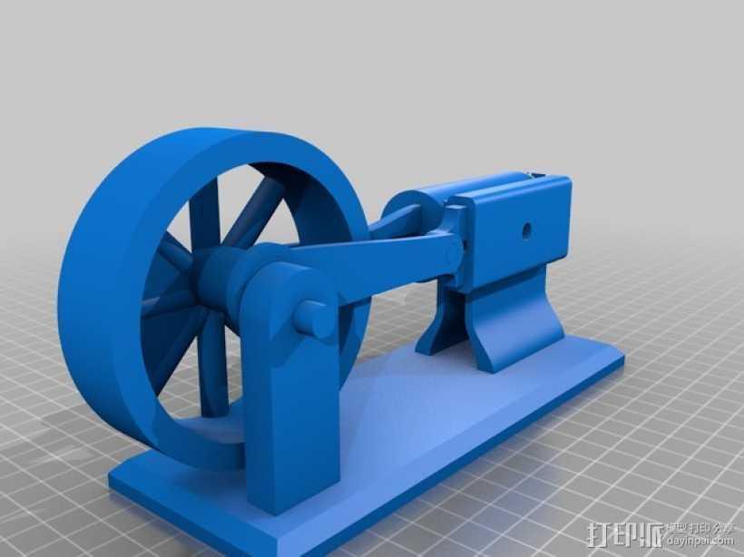 蒸汽机 3D打印模型渲染图
