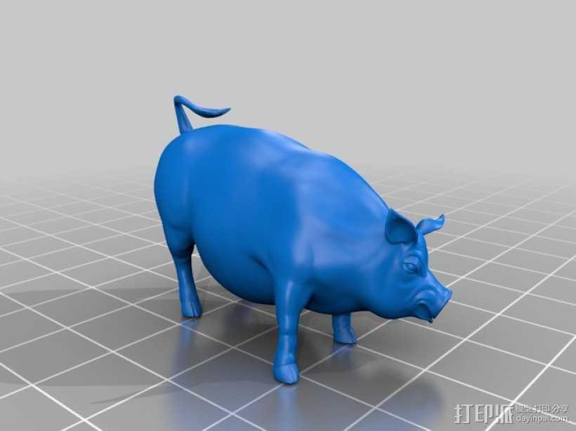 家猪 3D打印模型渲染图