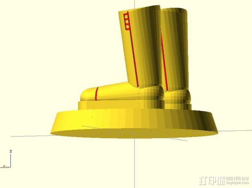 迷你靴子 3D打印模型渲染图