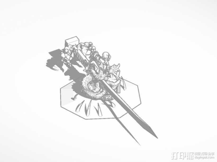 龙饰武士刀 3D打印模型渲染图