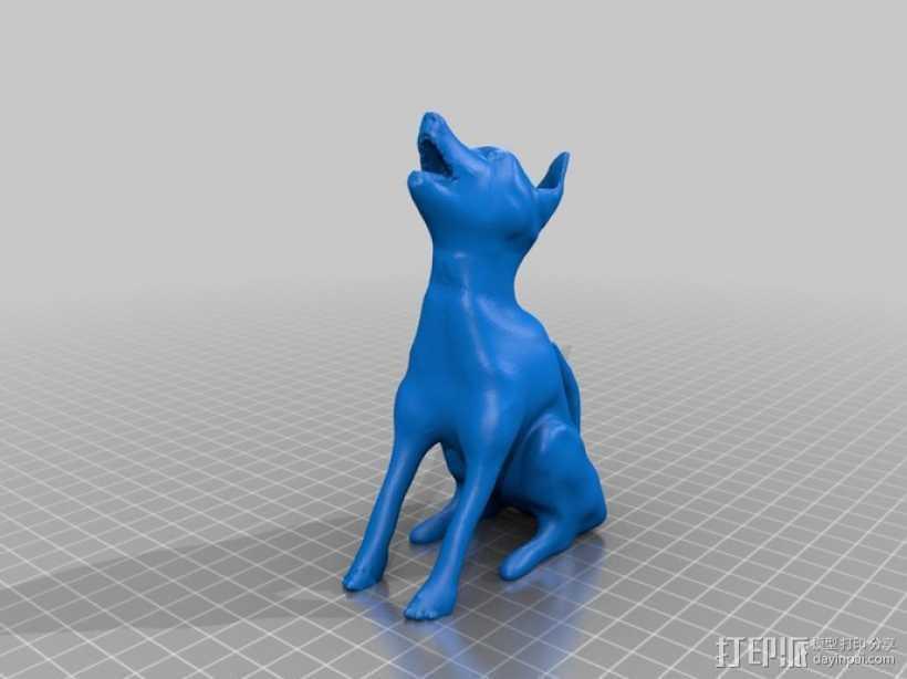 嚎叫的狼 3D打印模型渲染图